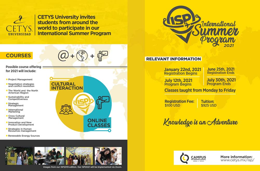 Folleto del programa de verano 2021 de CETYS Universidad / Brochure of the Summer Programme 2021 of CETYS University